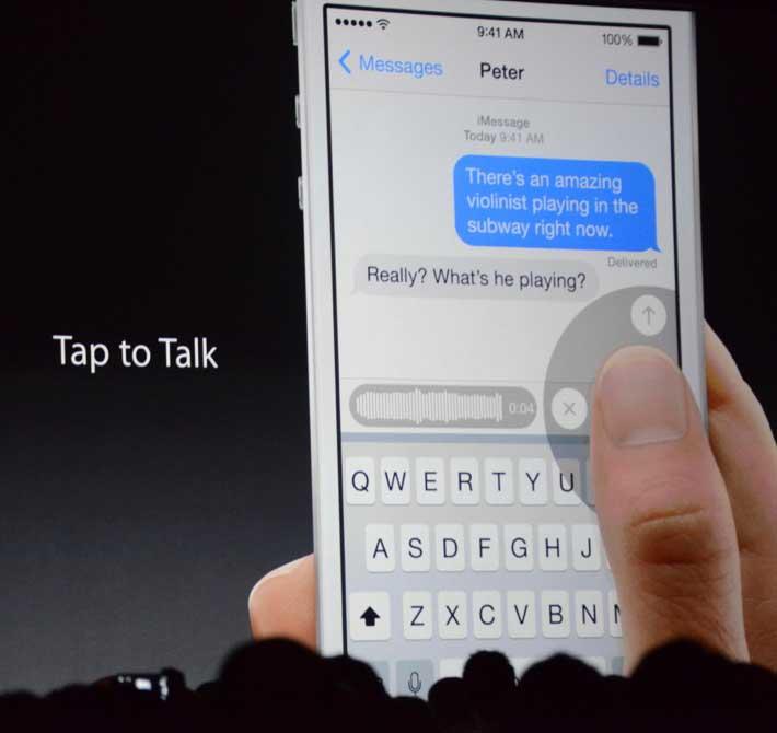 Функция Tap To Talk позволяет отправлять аудио сообщения