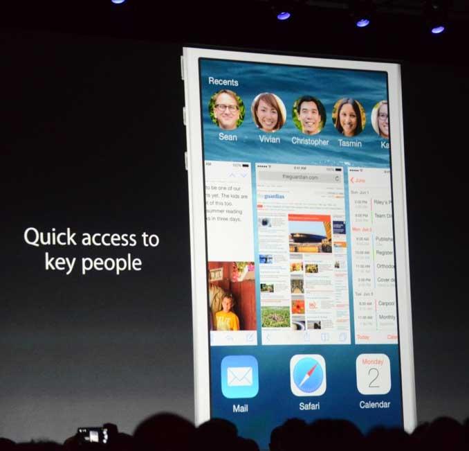 iOS 8 быстрый доступ к контактам