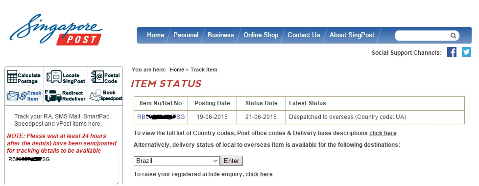 Информации о посылке на сайте почты Сингапура